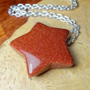Star Necklace - Red Goldstone Gemstone Carved Pendant (M13B) Polished Crystal Raw Stone Natural Stones Handmade Stars Gemstones Cute Charms