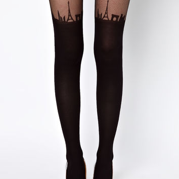 ASOS Suspender Paris Skyline Tights