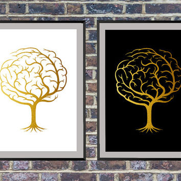 2 for the price of 1 Gold Tree Rooting from a Human Brain, Printable Art, Modern Art, Minimalist Decor, Gold Black and White *43*