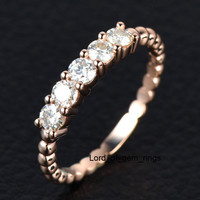 5 Stones 3mm Round Cut Moissanite Wedding Band Anniversary Ring in 14K Rose Gold Stackable