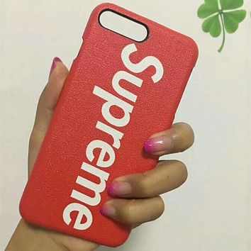 Supreme Couple Fashion Stylish iPhone 6/7/8X Phone Case Cover red