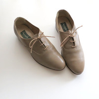 1980's Leather Oxfords Christopher B Grey Taupe Unisex Men Size 7 Women Size 9