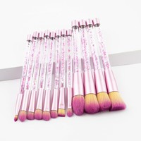 GUJHUI Glitter Crystal Makeup Brush Set Diamond Professional Highlighter Brushes Concealer Make Up Brush Set Mermaid Brush