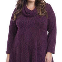 Plus Size Cowl Neck Textured Pullover Sweater