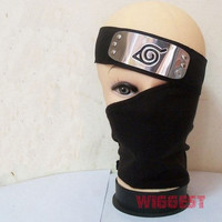 2 Pcs Naruto Hatake Kakashi Cosplay Black Mask + Leaf Village Ninja Headband