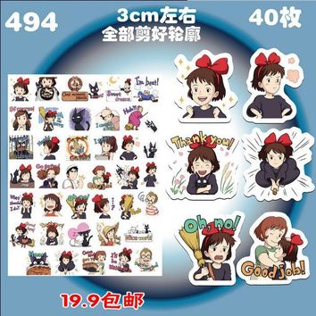 Free shipping 40pcs/lot Kiki's Delivery Service Stationery Scrapbooking Stickers 3D Noctilucent sticker note Decoration label