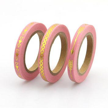 2017 New 3pcs Slim Pink Arrow Foil Washi Tape set 5mm*10m Split line masking tape decoration Stickers Stationery school supplly