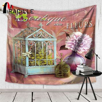 Miracille Wall Tapestry Euro Flowers Vase Pattern Home Art Hanging Tapiz Bedroom Wall Carpet Tapestries Beach Mat Home Textile