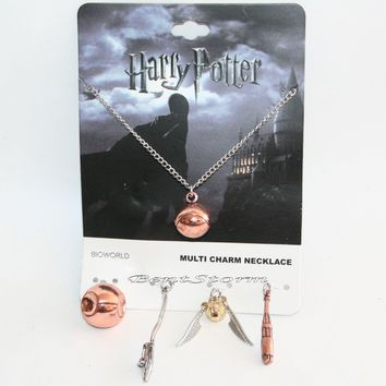 Licensed cool Harry Potter Quidditch Interchangeable 5 Multi Charm Pendant Necklace Set NEW