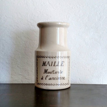 Maile Moutarde Stoneware Bottle | Vase | Vintage Mustard Bottle | French Decor | Rustic Vase | Cottage Decor | Shabby Chic | Boho Vase |