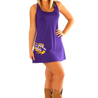 Judith March: Tiger Pride Tank Dress: Purple/Gold