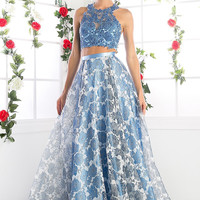 Designer elegant Runway 2 Piece Perry Blue Long Prom Dress Floral Ball Gown $600