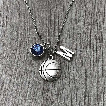 Personalized Basketball Necklace with Birthstone Charm