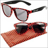Harley Quinn Logo Patterned Red Black Sunglasses w/ Fabric Case Pouch LICENSED xyz