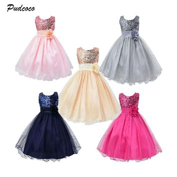 2019 Formal Sequins Grils Dress Kids Baby 3D Flower Girl Sequins Lace Tulle Gown  Princess Party Wedding Long Dresses 5 Colors