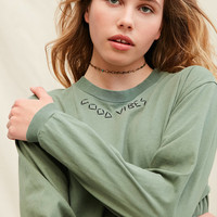 Urban Renewal Recycled Vibes Embroidered Long-Sleeve Tee | Urban Outfitters