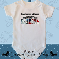 Don't Mess With Me My Daddy is a Marine Funny Baby Boy / Girl Baby Bodysuit or Toddler Tee