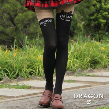 Anime Dragon Tights Cute Toothless Night Fury Pattern Black Pantyhose Cosplay Props Girls Gifts