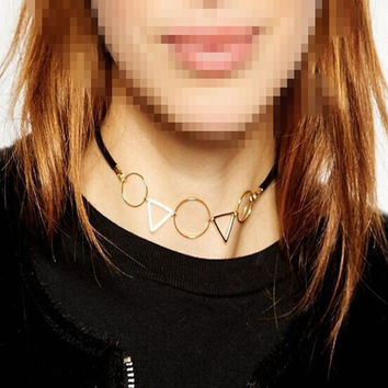 Fashion accessories jewelry round Triangle choker leather necklace gift  for women girl N1617