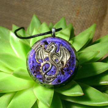 Dragon Orgonite Pendant with Black Tourmaline - EMF Protection and Energy Healing Organite Jewelry - Orgone Necklace  - Large