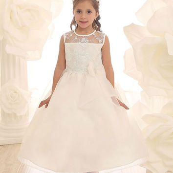 Organza Flower Girl Dress with Embroidered Lace