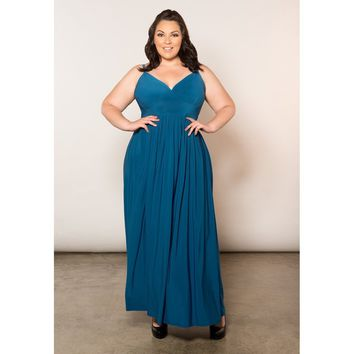 Plus Size Blue Spaghetti Strap Maxi Dress