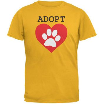 LMFCY8 Adopt Heart Paw Gold Adult T-Shirt