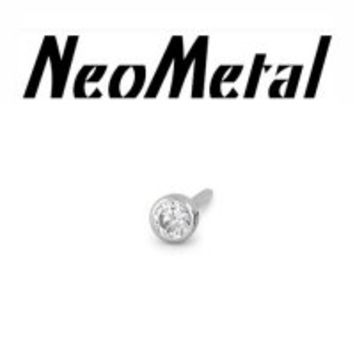 NeoMetal Threadless Titanium 1.5mm Bezel-Set Genuine Diamond End 18 gauge 18g [XGEM 18-1.5 Diamond] - $59.99 : Diablo Body Jewelry, The Art of High Quality