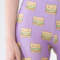 KITTY BURGER TIGHTS - pastel goth - kawaii - festival clothing - burning man clothing - tights - leggings - fairy kei -  cat burger tights