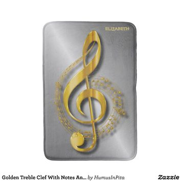 Golden Treble Clef With Notes And Shadows Bath Mat