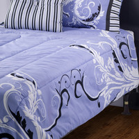 Filigree Periwinkle Twin Size Kids Comforter Bed Set