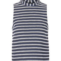 Textured Stripe Shell Top - Navy Blue