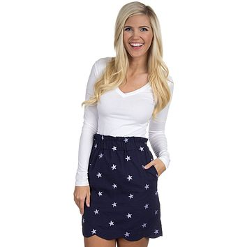 The Navy Star Scalloped Seersucker Skirt in Navy by Lauren James