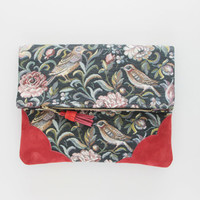 DAHLIA 14  / Floral tapestry & Natural leather folded clutch - Ready to Ship