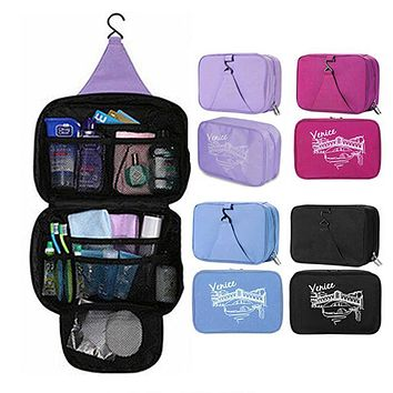 Women Waterproof Portable Cosmetic Bag Multifunctional Hanging Travel Toiletry Bag Organizer Makeup Pouch Free Shipping F414