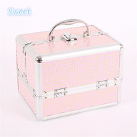 "7""  Key Lock - The Cosmetic Studio Box Is Designed To Fit all Cosmetics Aluminum Makeup Train Case Jewelry Box Cosmetic Organize"