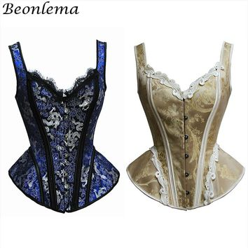 Beonlema Women Bustiers Top Sexy Corset For Punk Rave Party Overbust Lace Lingerie Steampunk Blue Waist Corset Retro Clubwear