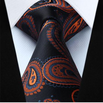Black Orange Paisley Necktie Pocket Square