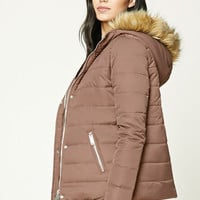 Faux Fur Trim Puffer Jacket