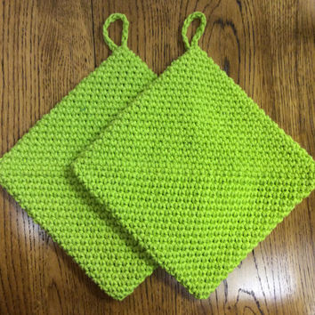 Lime green pot holders, double thick hot pads, cotton, green,hand crochet pot holders, gift idea,