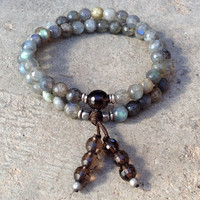 Serendipity and positivity, faceted labradorite and smoky quartz 54 bead wrap mala bracelet