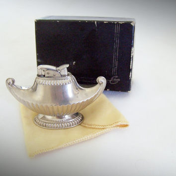 Evans Lighter Magic Lamp in Original Box - Silver Mad Men Table Lighter