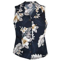 blueberry hawaiian sleeveless blouse