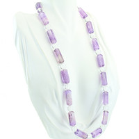 Amethyst and Rock Crystal Necklace 21""