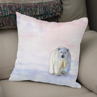 «Polar bear in the icy dawn», Numbered Edition Coussin by Savousepate - From 25€ - Curioos