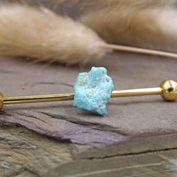 Raw Stone Turquosie Industrial Barbell Piercing Scaffold