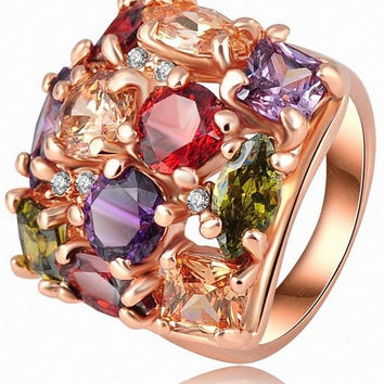 Fashion Colorful Zircon Crystal Diamond Stone 18K Rose Gold Punk Rhinestone Retro Finger Ring Women Engagement Wedding Band Bride Rings Jewelry Party Gifts = 1929570052