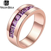 VALEN BELA Exquisite Women Jewelry Round Rose & Gold Plated Ring Size  8 9 10 Purple AAA CZ Rings JZ5014