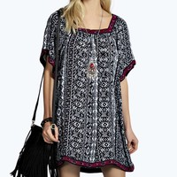 Gina Tapestry Trim Aztec Dress