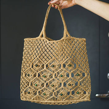 Vintage macrame jute bag. Beach bag knotted jute tote. Boho hippie bag woven jute. Shopping Bag jute. 70s fashion festival bag. Market Bag